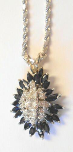 Impressive Large 14K White Gold Blue Sapphires Diamonds Pendant & Necklace