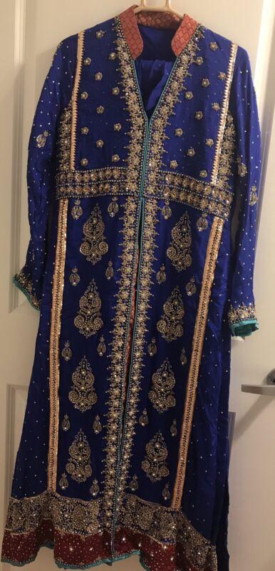 Royal blue Pakistani 3pc suit Full Embroidery Medium Size