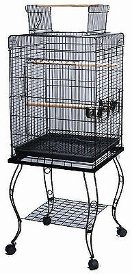 "Large 57-Inch Parrot Bird Cage Top Play With Stand Wheel 20x20x57""H BLK 524"