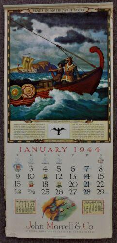 1944 Art Calendar JOHN MORRELL Flags In American  ( Oversize 30