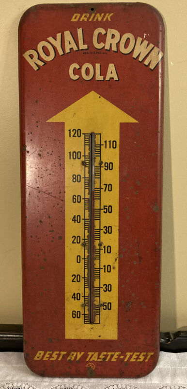 Vintage Royal Crown Cola Tin Thermometer
