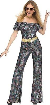 Damen Sexy 1970s Tanzende Disco Queen Overall Kostüm Kleid Outfit