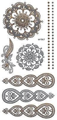 FLASH Tattoos temporär Hauttattoo Einmal Tattoo GOLD SILBER Ornamente M-T017 (Gold Tattoos)