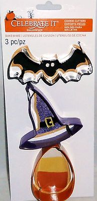 HALLOWEEN COOKIE CUTTER SET   Bat,Witches Hat,Candy Corn](Halloween Witches Hat Cookies)