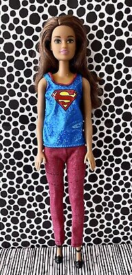 Barbie Doll Clothes Superman Tank Red Pants Black Stitching Black Booties NWOT