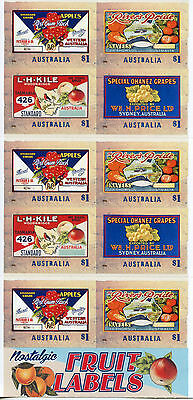 AUSTRALIA 2016 MNH NOSTALGIC FRUIT LABELS 10V S/A BOOKLET FRUITS APPLES STAMPS