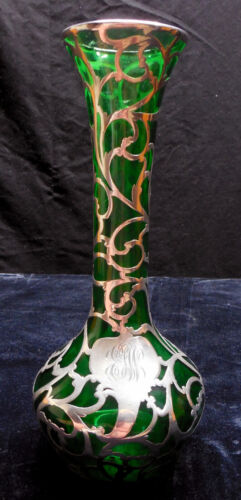"""Beautiful 10"""" Art Nouveau Emerald Green Vase with Alvin Silver overlay"""