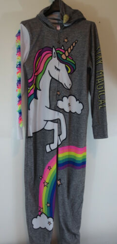 Justice Girls Size 18/20 One Piece Hooded Fleece Zip Up Pajamas Unicorn Rainbow