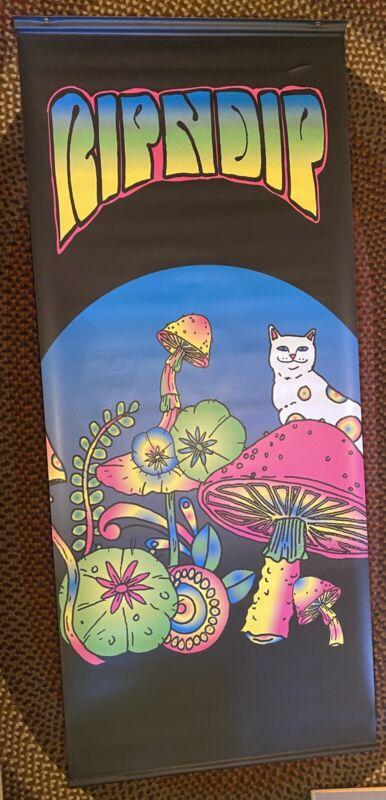 "Huge RipNDip Banner Psychedelic Mushroom Cat Rainbow Poster Skateboard 103""x44"""