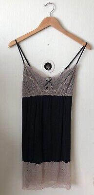 HONEYDEW Chemise Intimate Black & Light Brown Lace Trim Slip Dress Size Large