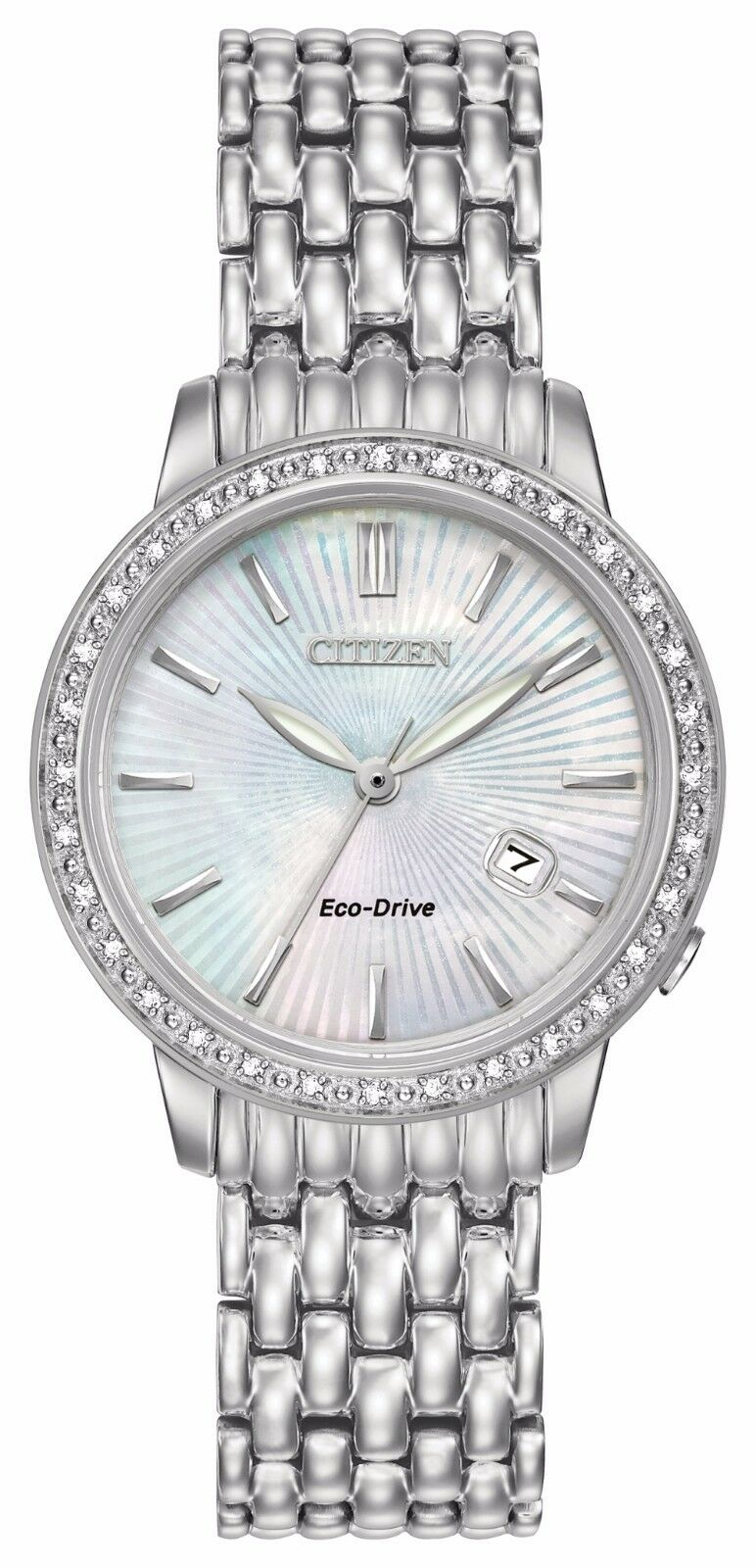 Citizen eco drive women 39 s ew2280 58d diamond bezel mother of pearl dial watch for Pearl watches
