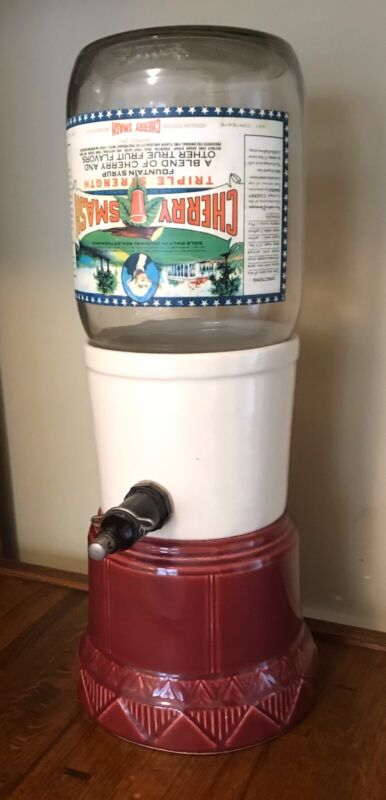 Antique Cherry Smash Soda Fountain Dispenser & Fountain Syrup Glass Bottle