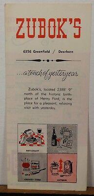 1950's 60's Zubok's Dearborn Michigan Restaurant vintage travel brochure b