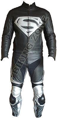 Superman Stil Schwarz & Silber Mens-Motorrad / Motorrad Leder Jacke & Anzug
