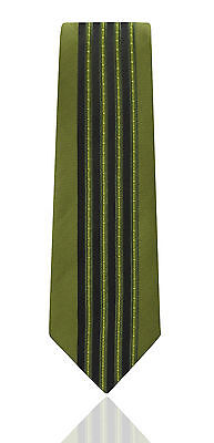 Mens Tie - Black & Green Stripe - Wedding Party Woven Striped Silk Necktie Gift