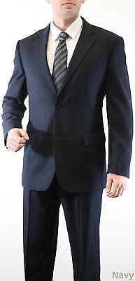 NEW BUSINESS MENS HERRINGBONE BLACK NAVY SUIT JACKET PANTS GROOM BEST MAN