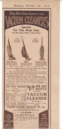 1918 Hoover Vacuum Cleaner Print Ad Baby Hoover, Ohio 4 , Frantz-Premier