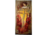 """ALPHONSE MUCHA 39/"""" X 18/"""" 100CM X 46CM /""""AUTUMN/"""" FULLY LINED TAPESTRY WALL HANGING"""