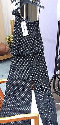 Joseph Ribkoff BNWT 10 One Shoulder Black &Silver Polka-Dot  All-In-One Jumpsuit