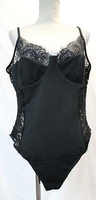 Boohoo Women's Plus Lace Detail Bodysuit CK6 Black Size UK:22 US:18 NWT
