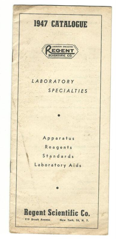 1947 Catalogue Regent Scientific Co Laboratory Apparatus Reagents Aids New York