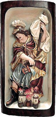 <br />San Floriano Rilievo in Legno.St.Floriano Relief Cm.80x40 31,49x15,,74demi model 127080 NUOVO In legno scolpita a mano --WOODEN WORK