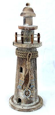 Deko Leuchtturm Holz 30cm Treibholz Antik-look