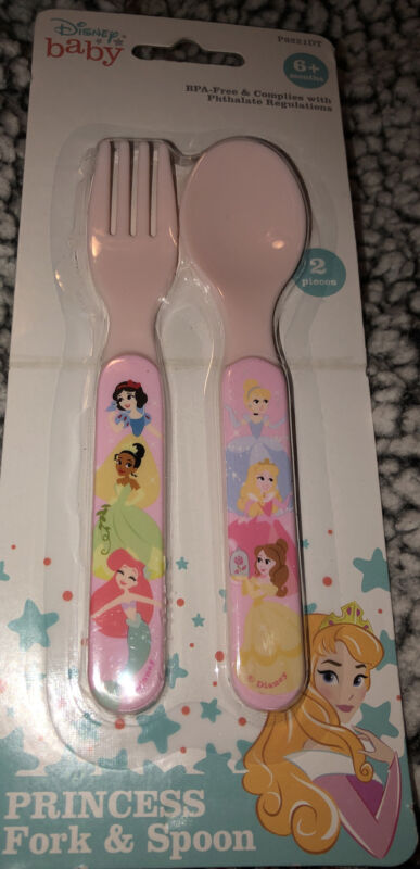 Disney Baby Princess Fork & Spoon Set Flatware BPA Free Pink Girl Gift 6+ months