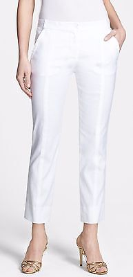 (Nwt $275 Diane Von Furstenberg Cropped Linen/Cotton Woven Pants Trousers White 2)