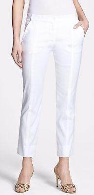 (Nwt $275 Diane Von Furstenberg Cropped Linen/Cotton Woven Pants Trousers White 2)