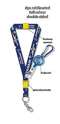 Ryanair Boeing B737 800  Dye Sublimation Lanyard   Badge Reel