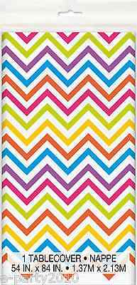 Chevron Party Supplies (RAINBOW CHEVRON PLASTIC TABLE COVER ~ Birthday Party Supplies Decorations Cloth)