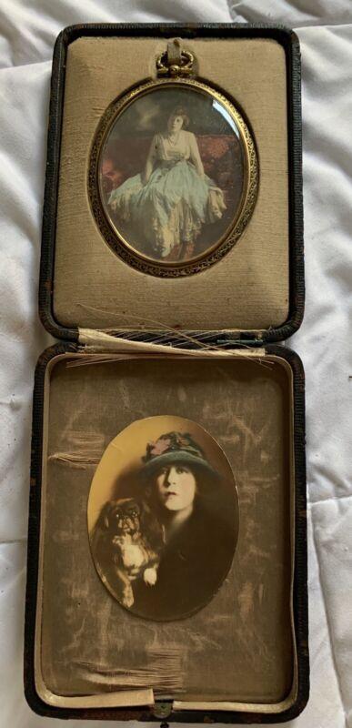 Antique Photographs, 2 Handcolored Oval Frame, Rich Woman Fancy Dress Pekingnese