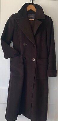 Vintage Womens Coat 2 PENDLETON Long Wool Silk Winter Dark Brown Double Breasted Double Breasted Silk Coat