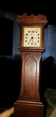 """Antique Tall Case miniature 13""""  Grandfather Clock replica~Tomas claggett/Barlow"""