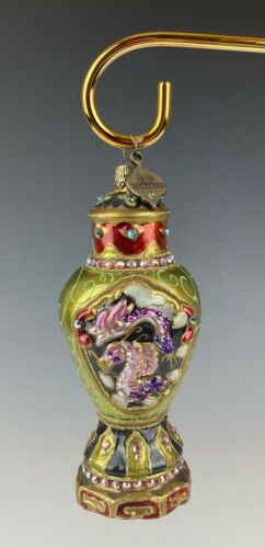 Jay Strongwater Ornament Chinoiserie Ginger Jar Urn Swarovski Crytals Mint Box