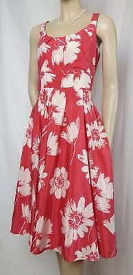 Laura Ashley Kleid 40 Seide Baumwolle Blumen creme rosa rot Hochzeit Cocktail ()