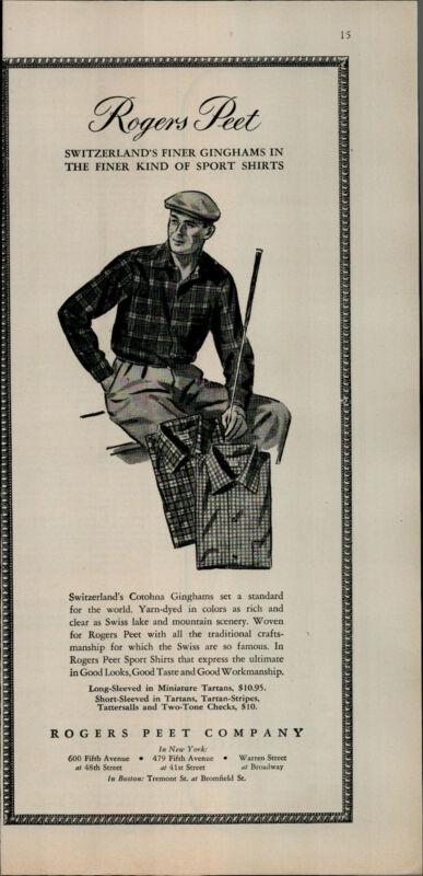 1956 Rogers Peet Sports Shirt Switzerland Golf Club Vintage Print Ad 2715