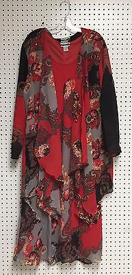(Women's Plus size Printed Two Piece Duster Jacket Dress Sets sizes 1X-2X-3X NWT)