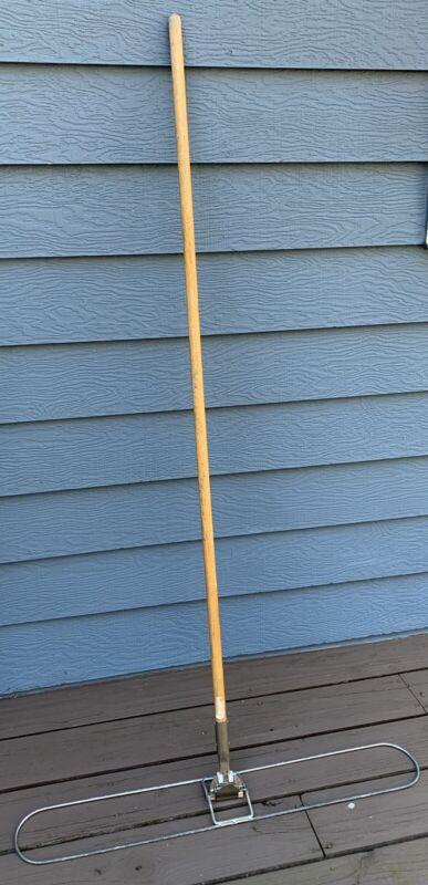 "Dust Mop Kit w/ 36"" Wide Wire Metal Frame & 53"" Easy Clip Wooden Handle 2 Pcs"
