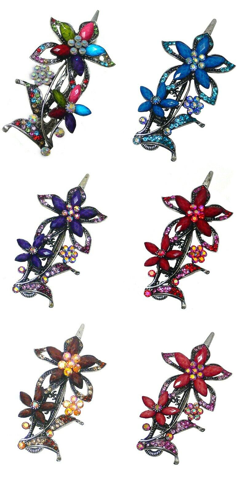 Bella Hair Clip w. Flower Ornament Sparkled Rhinestones/Bead