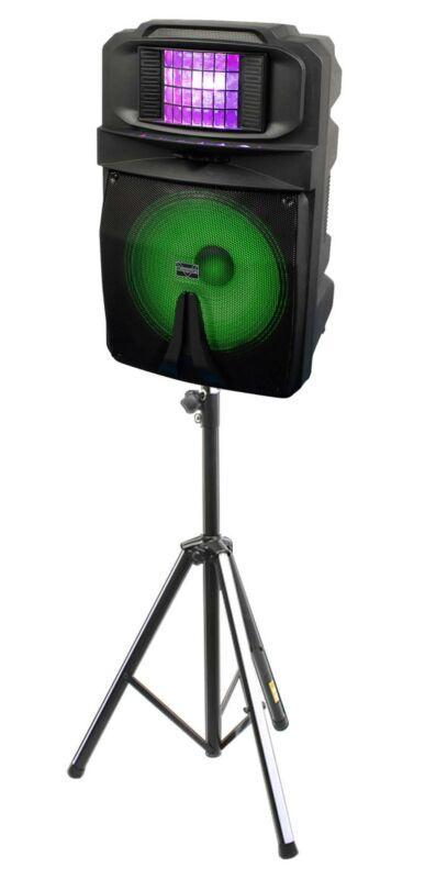 """VOCOPRO SOUNDGLOW-1500 15"""" 1000 Watt DJ/Karaoke Speaker w/Derby Light+LED Stand"""