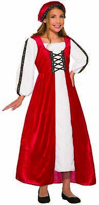 Renaissance Faire Girl Medieval Peasant Child Costume Dress Red White SM-LG New](Renaissance Peasant Girl Costume)