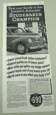1941 Print Ad Studebaker Champion 6 Cylinder Sedan Highest Quality