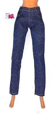 Barbie Dolls Vintage Clothes 80's  90's Slim Leg Dark Blue Trousers Jeans