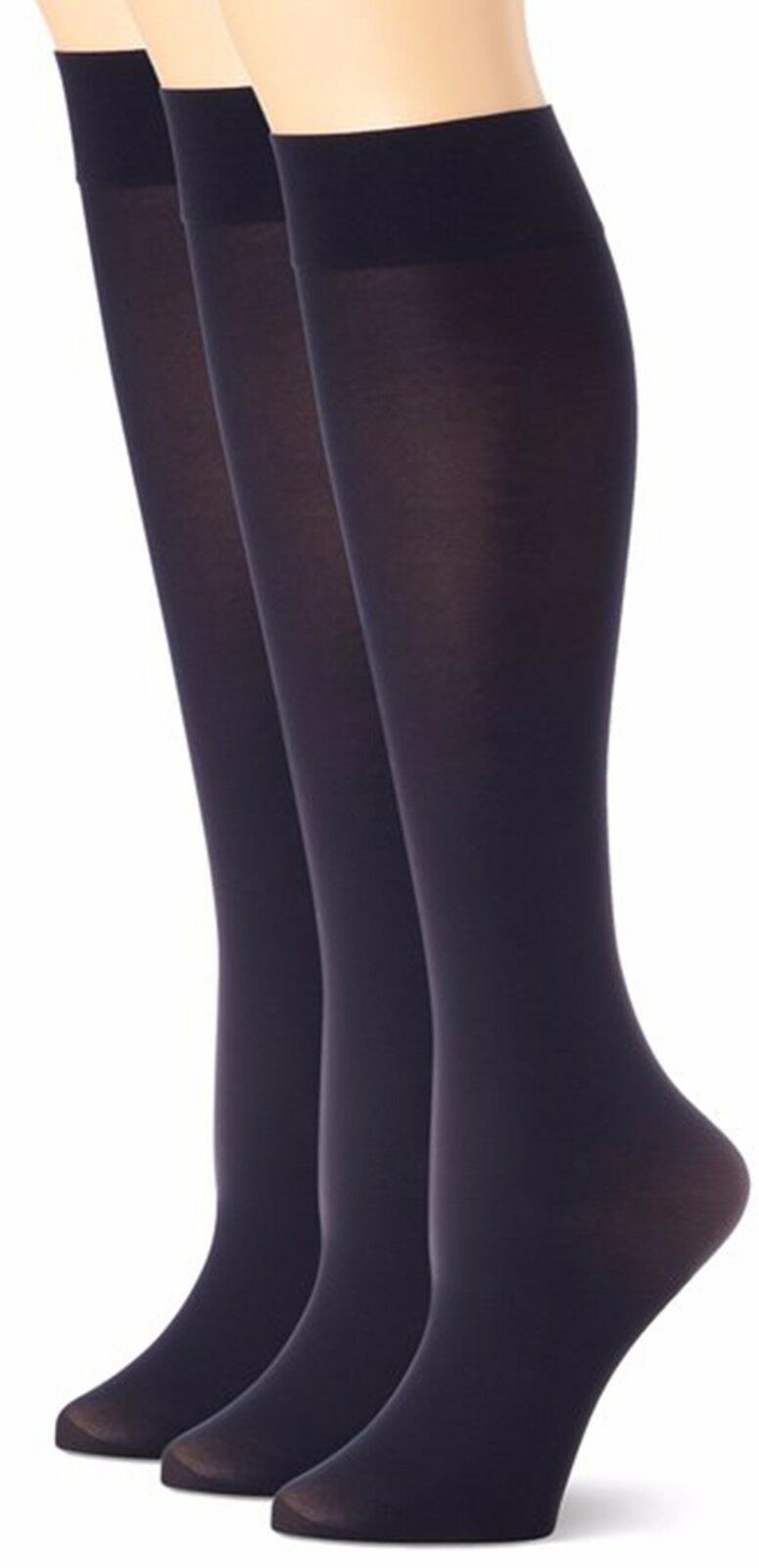 3 Pairs Pack Women Stretchy Spandex Trouser Socks Opaque Knee High | EBay