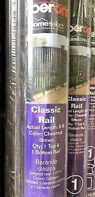 Fiberon CHESTNUT BROWN Classic handrail railings top & bottom 6 foot - BRAND NEW Brown Steel Rails