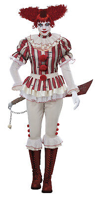 Sadistic Clown Pennywise IT Circus Jester Harley Quinn Adult Women Costume - Harley Quinn Costume Xs