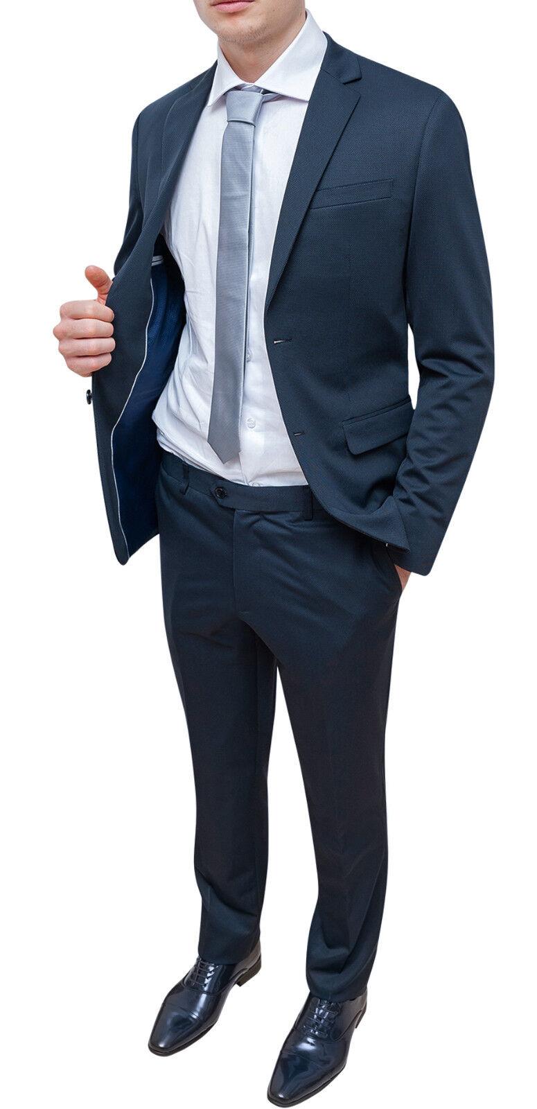 Abito Cerimonia Uomo Blu Scuro : Abito completo uomo blu scuro in micro fantasia nuovo vestito
