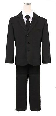 Boys HUSKY Black Formal Suit 5pc Complete set Holiday wedding fancy Christmas - Black Boys Suits